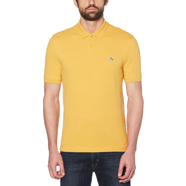 Raised Rib Polo Shirt In Honey Gold