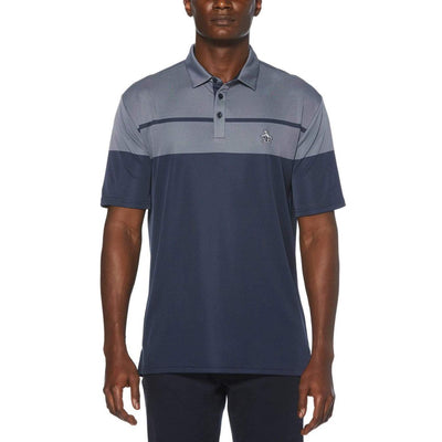 Birdseye Block Golf Polo Shirt In Black Iris