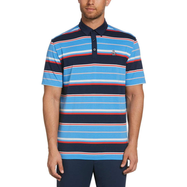 Icon Stripe Golf Polo Shirt In Black Iris