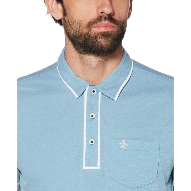 Oxford Texture Golf Polo Shirt In Caribbean Sea