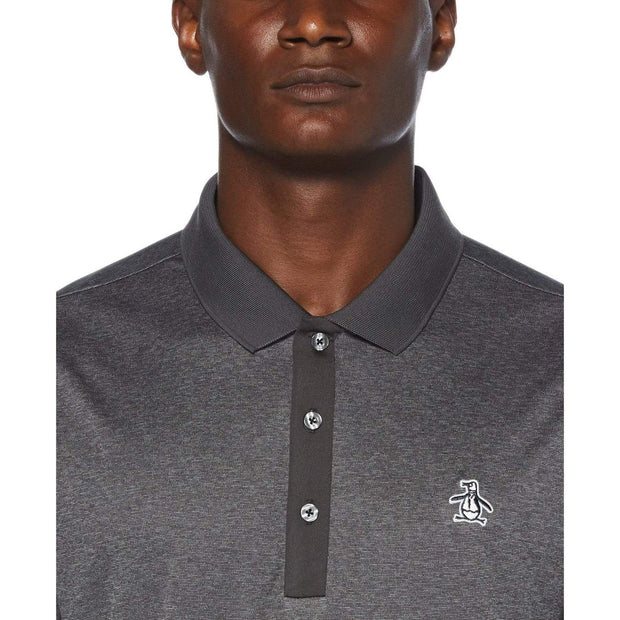 Three Strokes Golf Polo Shirt In Black Caviar Heather