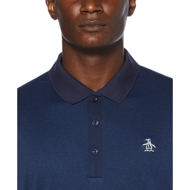 Three Strokes Golf Polo Shirt In Black Iris Heather
