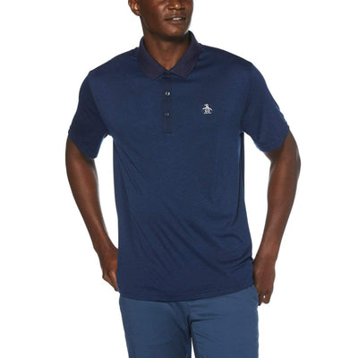 Three Strokes Golf Polo In Navy Iris Heather