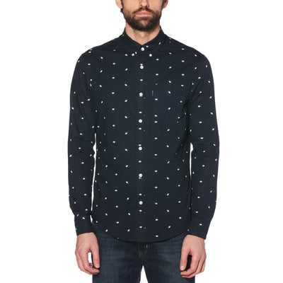 AMERICAN FOOTBALL PRINT SHIRT IN DARK SAPPHIRE