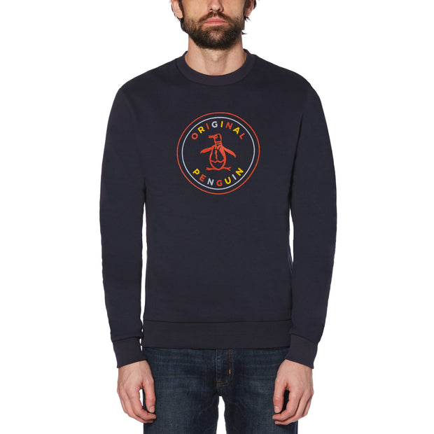 MULTI FLOCK STAMP LOGO SWEATER IN DARK SAPPHIRE