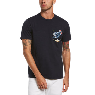 Tropical Floral Pocket T-Shirt In Dark Sapphire