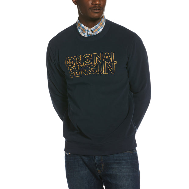 Stacked Logo Fleece Sweatshirt In Dark Sapphire