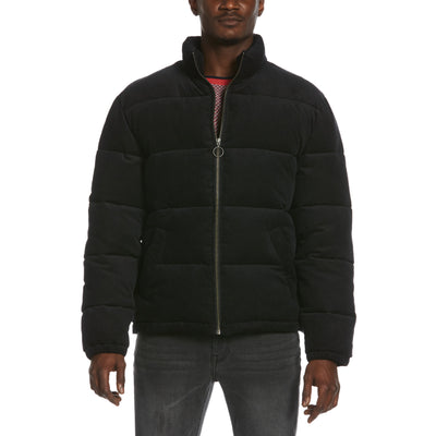 Corduroy Puffer Jacket In True Black