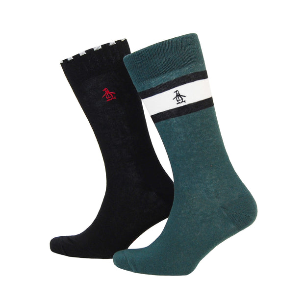 2 PACK CHECKERED SOCKS IN DARKEST SPRUCE