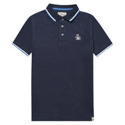 Kids Tipped Pique Polo Shirt In Navy