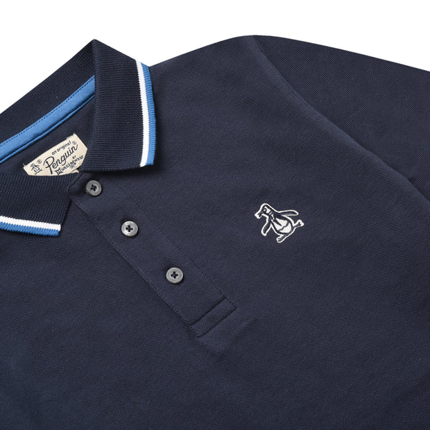 Youth Tipped Pique Polo Shirt In Navy