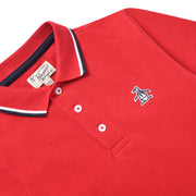 Kids Tipped Pique Polo Shirt In Tango Red