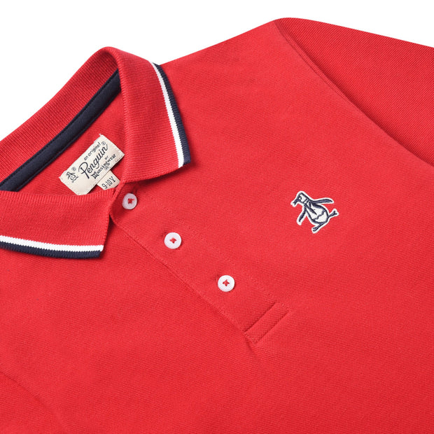 Youth Tipped Pique Polo Shirt In Tango Red