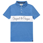 Kids Script Logo Chest Polo Shirt In Deep Water