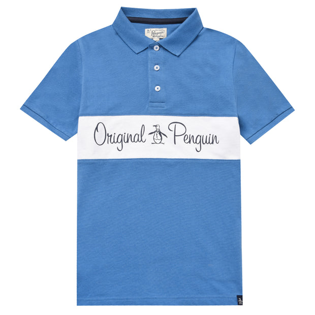 Teen Script Logo Chest Polo Shirt In Deep Water
