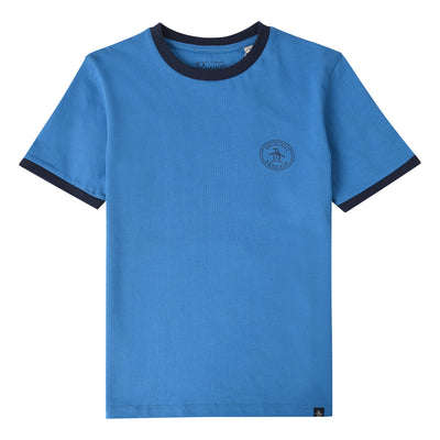Teen Stamp Logo Ringer T-Shirt In Deep Water