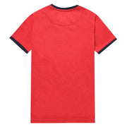 Kids Stamp Logo Ringer T-Shirt In Tango Red