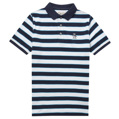 Kids Multi-Stripe Polo Shirt In Navy