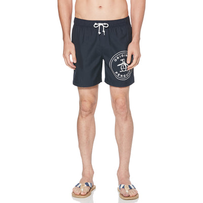 STAMP LOGO SWIM SHORTS IN DARK SAPPHIRE