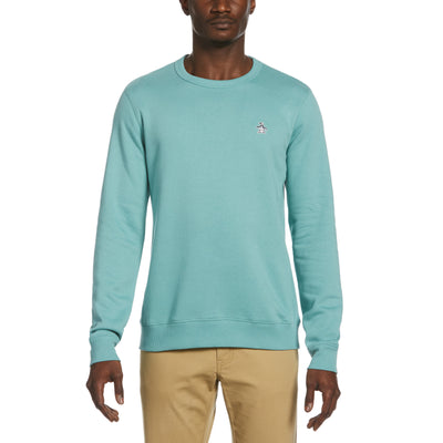 Sticker Pete Fleece Crew Neck Sweatshirt In Oil Blue