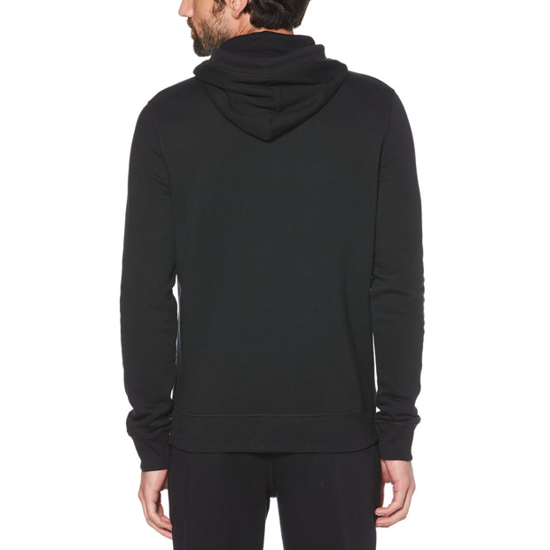 STICKER PETE FLEECE PULLOVER HOODIE IN TRUE BLACK