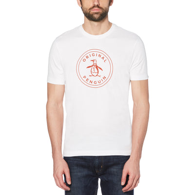 PRINTED STAMP LOGO T-SHIRT IN BRIGHT WHITE