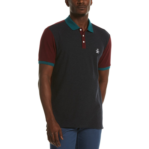 Heathered Colour Block Polo Shirt In Dark Sapphire