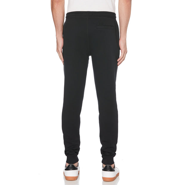 STICKER PETE FLEECE JOGGER IN TRUE BLACK
