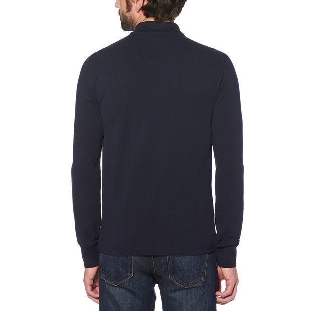 RAISED RIB LONG SLEEVE POLO SHIRT IN DARK SAPPHIRE