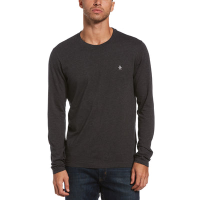 Pin Point Long Sleeve T-Shirt In Dark Charcoal Heather