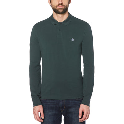 RAISED RIB LONG SLEEVE POLO SHIRT IN DARKEST SPRUCE