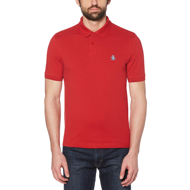 Raised Rib Polo Shirt In Scarlet Sage