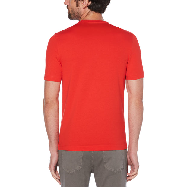 Pin Point Embroidery T-Shirt In High Risk Red