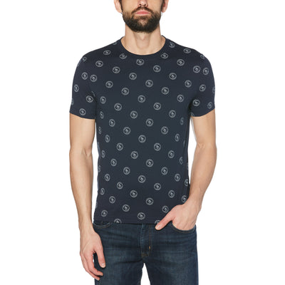 RE-PETE STAMP LOGO T-SHIRT IN DARK SAPPHIRE