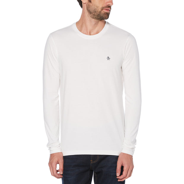 PIN POINT LONG SLEEVE T-SHIRT IN BRIGHT WHITE