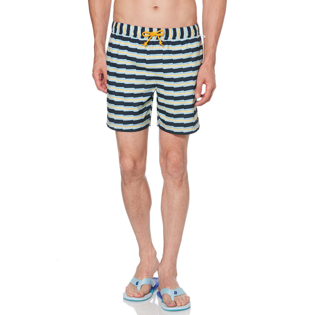 ZIG ZAG STRIPE SWIM SHORTS IN DARK SAPPHIRE