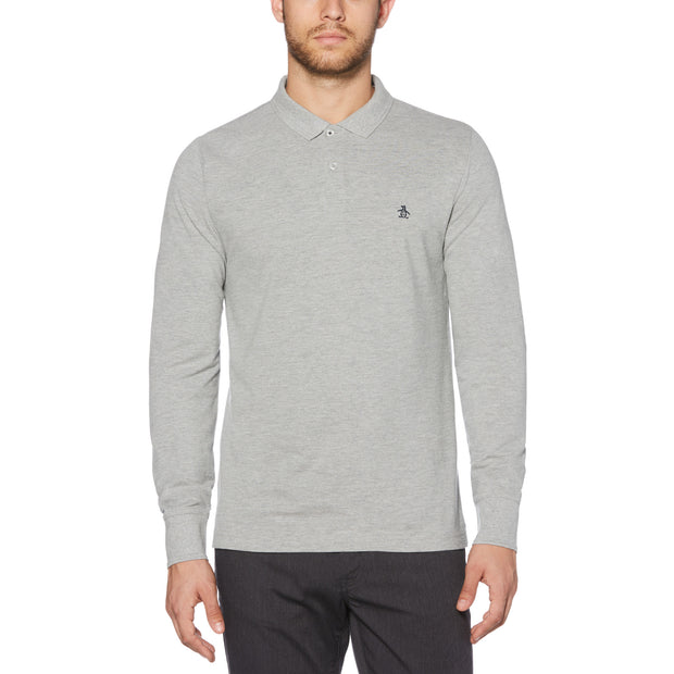 RAISED RIBBED POLO SHIRT IN RAIN HEATHER