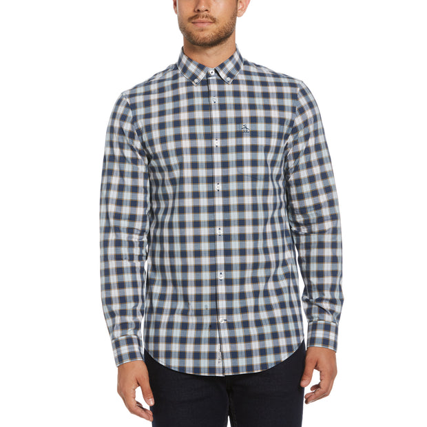 Blue Plaid Oxford Shirt In Sargasso Sea