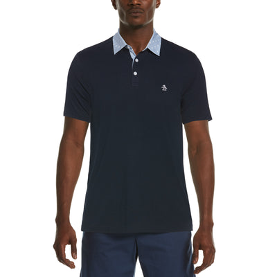 Knit Chambray Collar Polo Shirt In Dark Sapphire