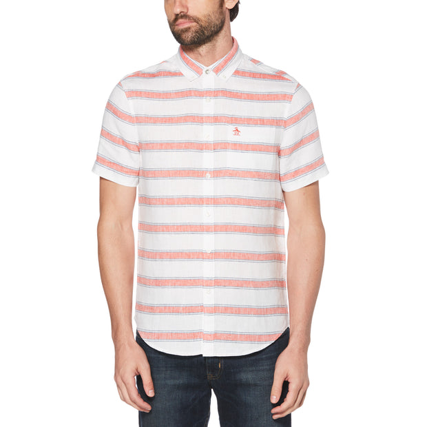 STRIPE LINEN SHIRT IN BRIGHT WHITE
