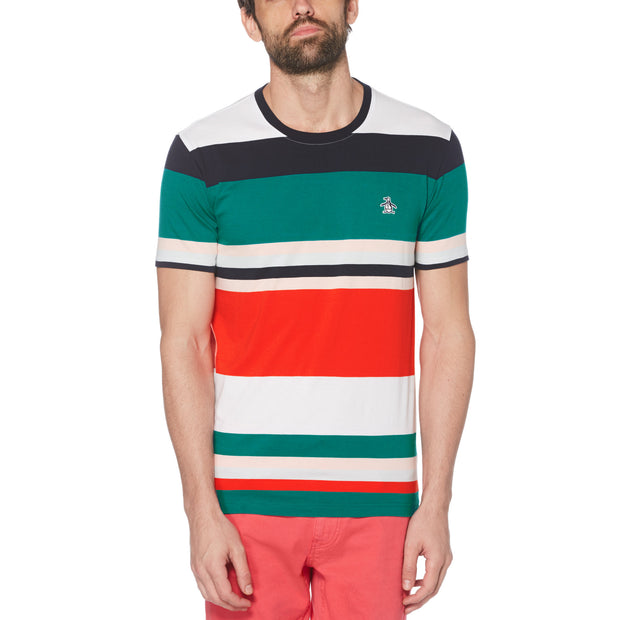 Bold Stripe T-Shirt In Deep Lake
