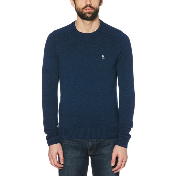 LAMBSWOOL CREW NECK SWEATER IN SARGASSO SEA