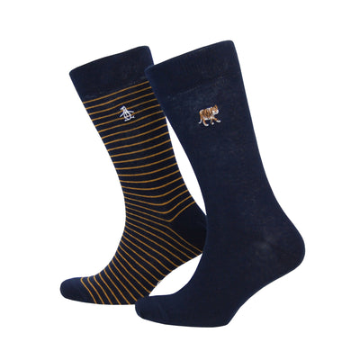 2 PACK TIGER EMBROIDERY SOCKS IN DARK SAPPHIRE
