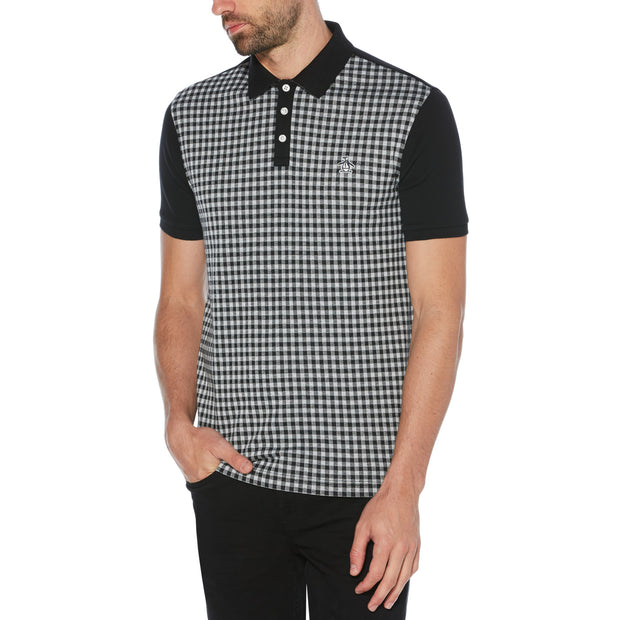 Gingham Jacquard Polo Shirt In True Black