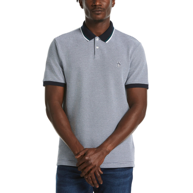 Tipped Textured Polo Shirt In Dark Sapphire