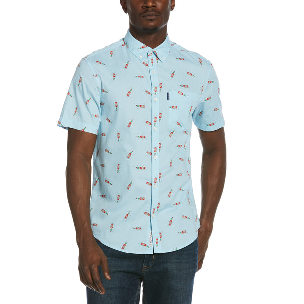 Tobasco Print Shirt In Cool Blue