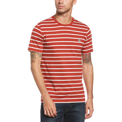 Breton Stripe T-Shirt In Red Ochre