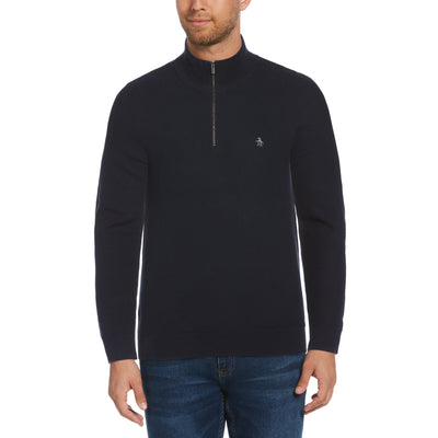 Quarter Zip Tuck Stitch Sweater In Dark Sapphire
