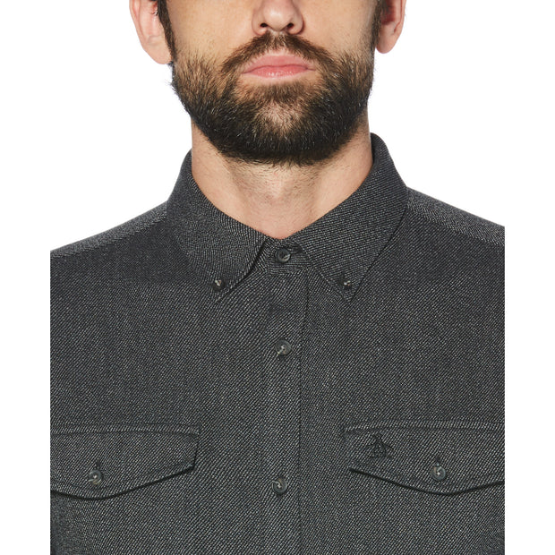 JASPE FLANNEL SHIRT IN TRUE BLACK