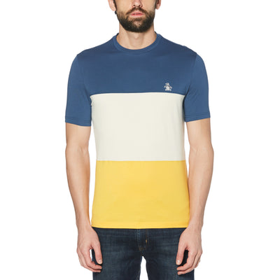 COLOUR BLOCK T-SHIRT IN SARGASSO SEA